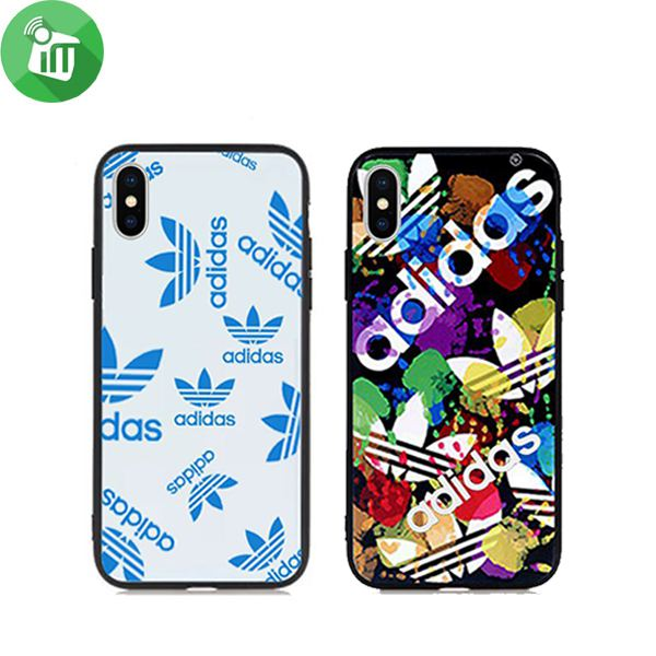 the best attitude 41317 272b2 ST adidas Blue Ray Glass Cover For iPhone X